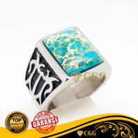 Cincin Batu Akik Pirus Biru Natural Turqouise Garansi Asli - Putih, 8
