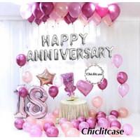 Paket set balon chrome happy anniversary dekorasi pesta pink wedding