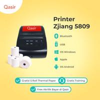 Printer Bluetooth Kasir + 10 Roll Paper Thermal Besar / Zjiang 5809