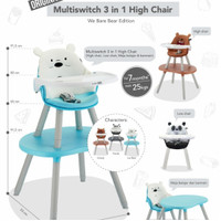 (Baby Club Itc Bsd) High Chair Cocolatte Multiswitch WBB X We Bare Bea