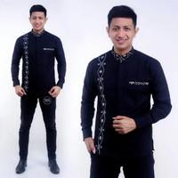 Model Terbaru 2021 Baju Koko Pria Muslim Kombinasi Rantai Prada Perak - E, M