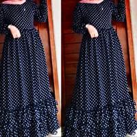 NAIRA DRESS POLKADOT / BAHAN MONALISA / BUSUI - Hitam, All Size