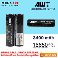 Rechargeable Baterai AWT 18650- 3400 MAh ( Li-Ion 3.7V )