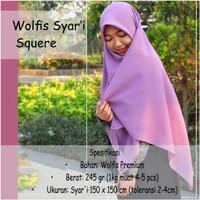 Hijab Segi Empat Syari Wolfis Premium Bahan Wolfis size 150 x150 cm