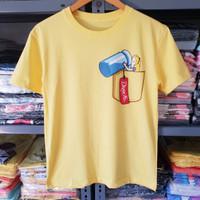 baju atasan kaos wanita murah lengan pendek motif baru yellow XL 175