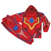 baju kostum ultraman kostum ultramen topeng kain stelan panjang anak - ULTRAMEN MERAH, 1-2 TAHUN