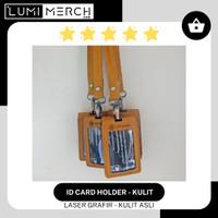 Gantungan ID Card Kulit + Tali Lanyard Custom Laser Grafir Logo / Text