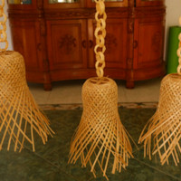 Krongsong santuan-lampu bambu- lampu hias -lampu gantung -ayaman bambu