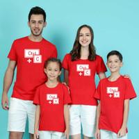Kaos/Baju Couple Keluarga Motif Copy-Paste bahan combed 30's murah