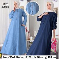 baju muslim wanita gamis denim jumbo ld 120 cm