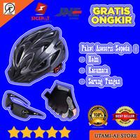 PAKET 3in1 Aksesoris Sepeda MTB/ROADBIKE Helm+Kacamata+Sarung Tangan