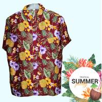 Baju Kemeja motif bunga pantai bali hawaii bellarigo