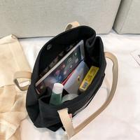 CAIYU- Handbag / Bahu Tote Gaya Korea Bahan Kanvas Untuk Wanita AWL - Hitam