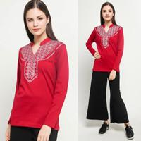 VM Blouse Merah Panjang V Neck Atasan Muslim Wanita - Merah, M