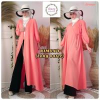 Kimono Long Outer Atasan Baju Gamis Ori Vallery Hijab - Orange