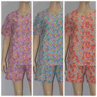 baju tidur/piyama wanita FL08 kerah batik/celana pendek biru