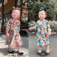 Baju Dress Anak Usia 1-2 Tahun Kids Baby Girl Import Lengan Panjang - Putih