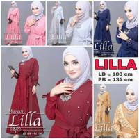 Dress Gamis Abaya Brukat Rok Renda Pakaian Muslim Wanita Lebaran Pesta - Abu / Grey, LILLA