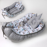 KASUR BAYI BABY NEST MODEL KAPAL BOLAK BALIK (FREE BANTAL PEYANG) - GRAY PANDA
