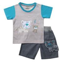 Setelan Baju Anak Bayi Laki-laki Bordir 1-2 Tahun Kaos Celana Pendek - Tosca, S