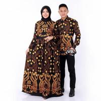 Baju couple dress batik sarimbit gamis jumbo dan kemeja