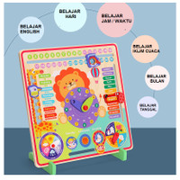 Mainan anak edukasi belajar puzzle KAYU 7IN1 game wooden clock toys