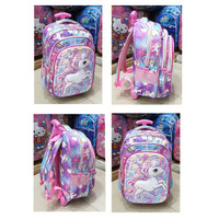 TAS DORONG TROLLEY SD ANAK PEREMPUAN UNICORN LILAC GLOSSY 3RESLETING
