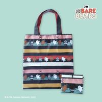 We Bare Bears Foldable Shopping Bag Black / Tas Belanja Lipat