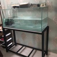Aquarium 100x50x50 alas 10'mm dan rak nya
