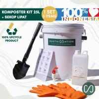 Paket Komposter 25 Liter Lengkap Pemula Sekop Lipat + Sarung Tangan