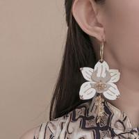 HP Batik Orchid Leather Earrings