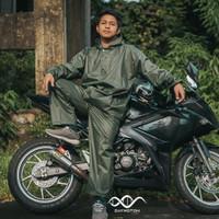 Daymoton Jas Hujan Motor Raven Bahan Mix Parasut & Karet All size