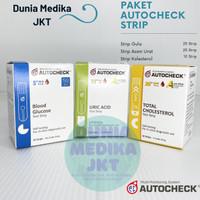 Paket Autocheck Strip Gula, Asam Urat, dan Kolesterol