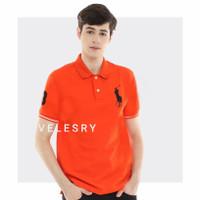 Baju Polo Shirt Pria Premium Quality - Orange, M