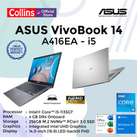 ASUS VIVOBOOK 14 A416EA I5-1136G7 DDR4 4GB 256GB SSD 14 FHD W10 OHS