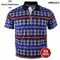 Miller Neuman 113 Kaos Pria Polo Motif Batik Bahan Katun Berkantong