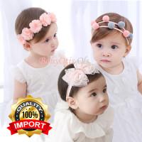 Bando Anak Bayi Baby Hairband Bandana Headband Pita Bunga Pompom