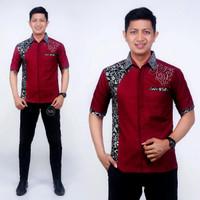 Baju Kemeja Batik Pria Terbaru Murah, Katun Oil Kombinasi Prada Perak - D, M