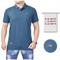 baju kaos polo shirt pria - baju kaos kerah premium - M, BIRU TOSCA