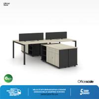 Meja Kerja Kantor Berhadapan 4 orang + Meja Samping Sorong