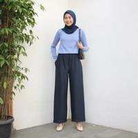 Yuki Kulot / Daily Kulot Wanita Panjang Bahan Jersey Strech - Biru