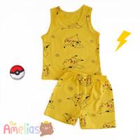 pikachu pokemon play set setelan baju anak bahan kaos impor