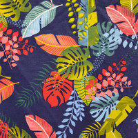 kanvas motif tropical hitam ( 50 cm x 150 cm ) - Navy