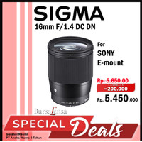 Sigma 16mm F1.4 DC DN - C For Sony Emount