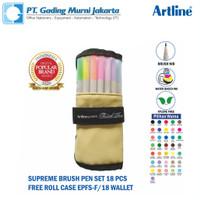 BRUSH PEN SUPREME ARTLINE EPFS-F ( 18 Warna ) FREE ROLL CASE