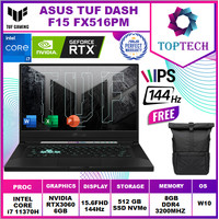 ASUS TUF DASH F15 FX516PM 144Hz RTX3060 i7 11370H 8GB 512ssd W10+OHS