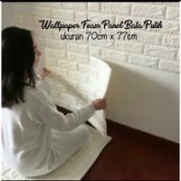 Wallpaper Dinding 3D Foam Batu Bata 35Cm x 35.35cm4mm, Putih - polos