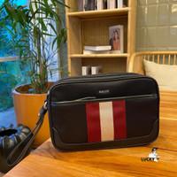Bally Men Caliros Clutch Bag Black Stripe - ORIGINAL 100%
