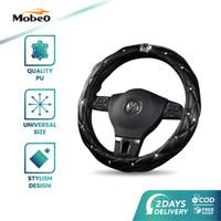 Mobeo Royal Crown Steering Cover (Sarung Setir Premium) Diameter 38 cm - Hitam