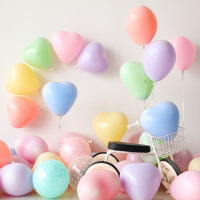 Balon Latex Love Macaron / Balon Karet Hati Warna Macaron / Balon Love